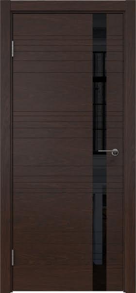 Межкомнатная дверь ZM014 (шпон дуб коньяк / лакобель черный)