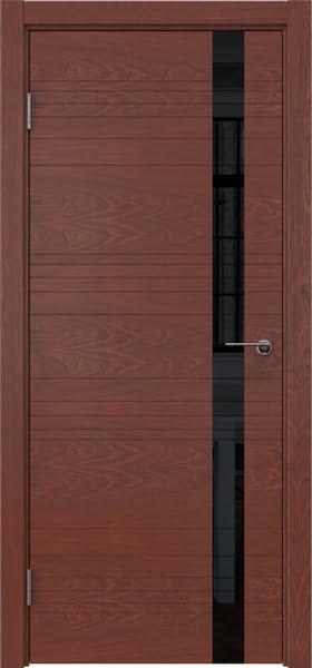 Межкомнатная дверь ZM014 (шпон красное дерево / лакобель черный)