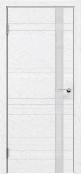 Межкомнатная дверь ZM014 (шпон ясень белый) / лакобель белый)