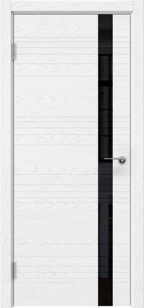 Межкомнатная дверь ZM014 (шпон ясень белый) / лакобель черный)