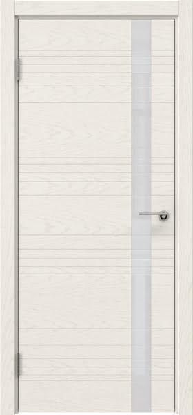 Межкомнатная дверь ZM014 (шпон ясень слоновая кость / лакобель белый)