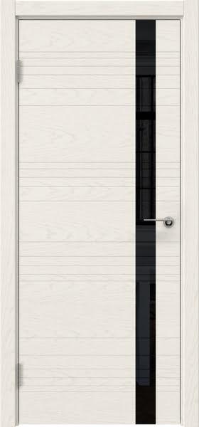 Межкомнатная дверь ZM014 (шпон ясень слоновая кость / лакобель черный)