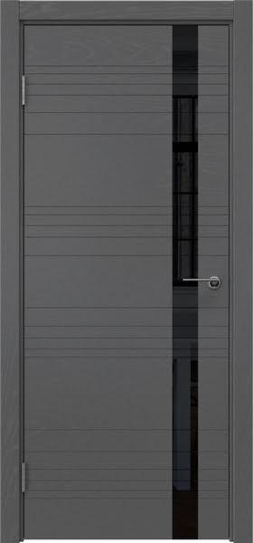 Межкомнатная дверь ZM014 (шпон ясень серый / лакобель черный)
