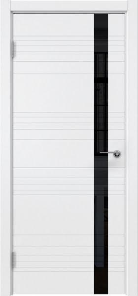 Межкомнатная дверь ZM014 (эмаль белая / лакобель черный)