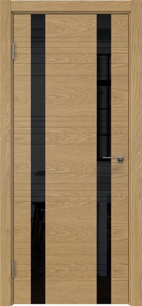 Межкомнатная дверь ZM015 (шпон дуб американский / лакобель черный)