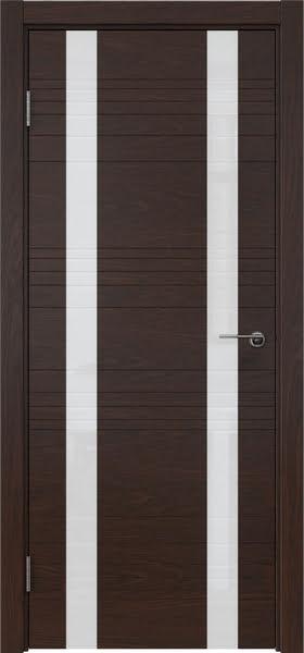 Межкомнатная дверь ZM015 (шпон дуб коньяк / лакобель белый)