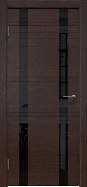 Межкомнатная дверь ZM015 (шпон дуб коньяк / лакобель черный)