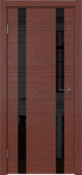 Межкомнатная дверь ZM015 (шпон красное дерево / лакобель черный)