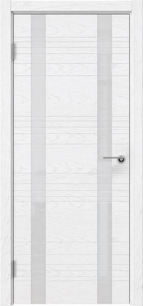 Межкомнатная дверь ZM015 (шпон ясень белый) / лакобель белый)