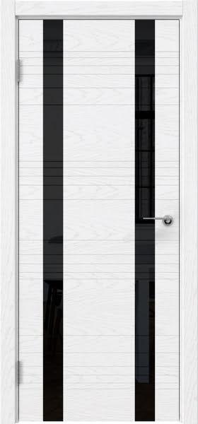 Межкомнатная дверь ZM015 (шпон ясень белый) / лакобель черный)