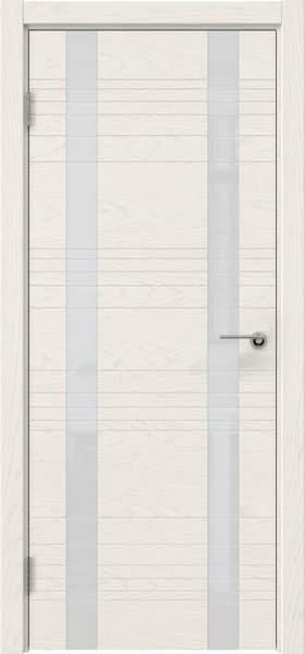 Межкомнатная дверь ZM015 (шпон ясень слоновая кость / лакобель белый)