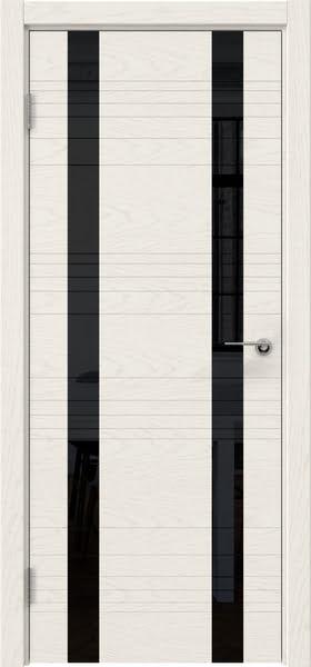 Межкомнатная дверь ZM015 (шпон ясень слоновая кость / лакобель черный)