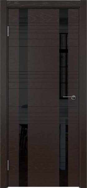 Межкомнатная дверь ZM015 (шпон ясень темный / лакобель черный)