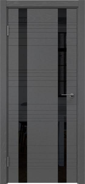 Межкомнатная дверь ZM015 (шпон ясень серый / лакобель черный)