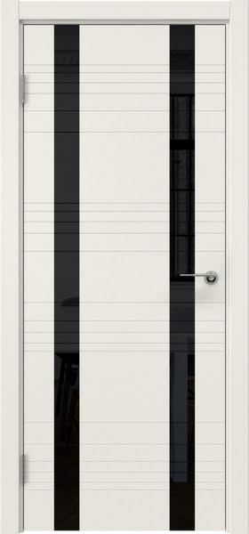 Межкомнатная дверь ZM015 (эмаль слоновая кость / лакобель черный)