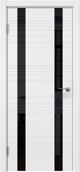 Межкомнатная дверь ZM015 (эмаль белая / лакобель черный)