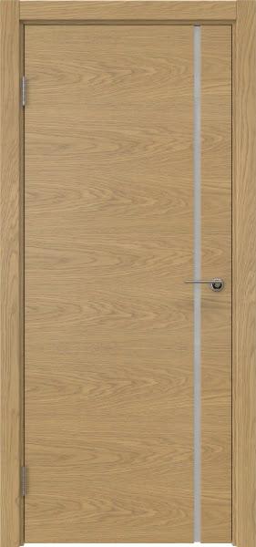 Межкомнатная дверь ZM016 (натуральный шпон дуба / триплекс белый)