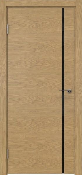 Межкомнатная дверь ZM016 (натуральный шпон дуба / триплекс черный)