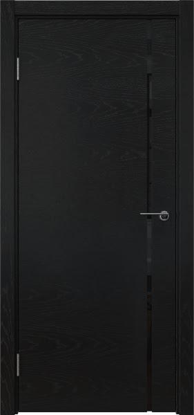 Межкомнатная дверь ZM016 (шпон ясень черный / триплекс черный)