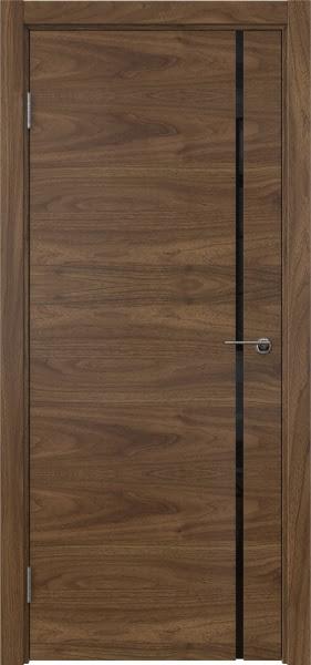 Межкомнатная дверь ZM016 (шпон американский орех / триплекс черный)