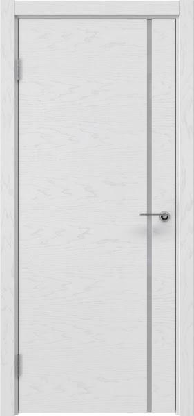Межкомнатная дверь ZM016 (шпон ясень светло-серый / лакобель белый)