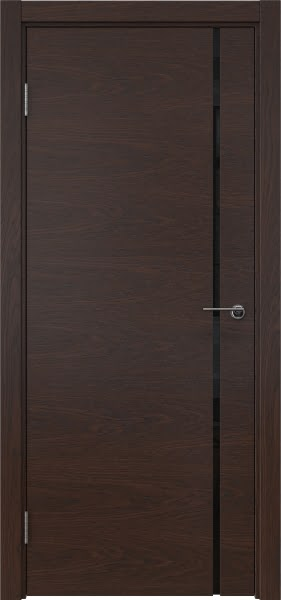 Межкомнатная дверь ZM016 (шпон дуб коньяк / триплекс черный)