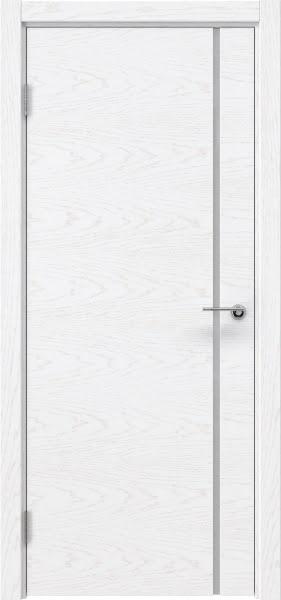 Межкомнатная дверь ZM016 (шпон ясень белый) / триплекс белый)