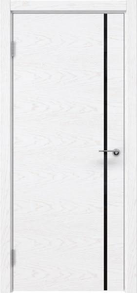 Межкомнатная дверь ZM016 (шпон ясень белый) / триплекс черный)