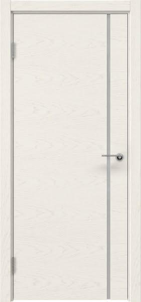 Межкомнатная дверь ZM016 (шпон ясень слоновая кость / триплекс белый)