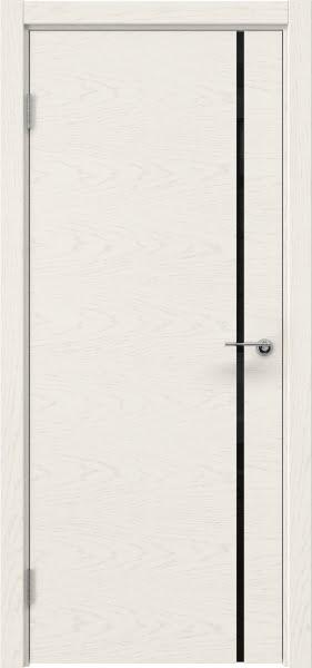 Межкомнатная дверь ZM016 (шпон ясень слоновая кость / триплекс черный)