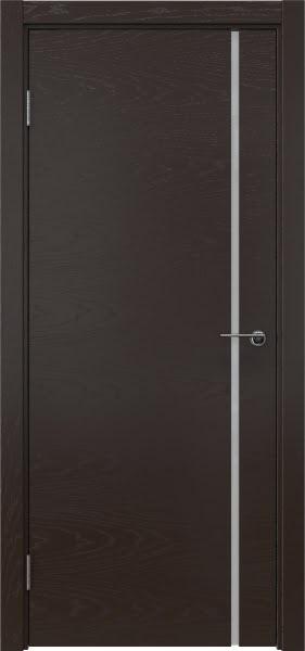 Межкомнатная дверь ZM016 (шпон ясень темный / триплекс белый)