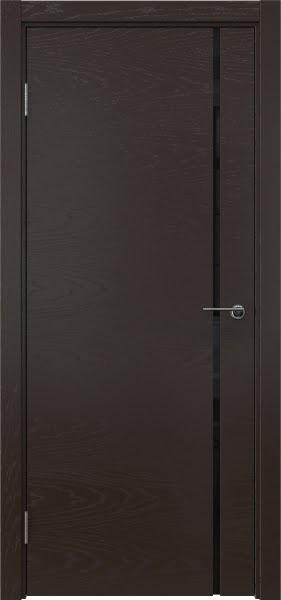 Межкомнатная дверь ZM016 (шпон ясень темный / триплекс черный)