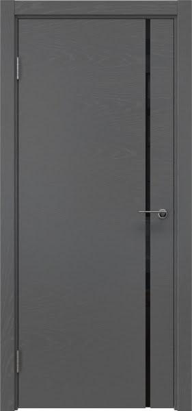 Межкомнатная дверь ZM016 (шпон ясень серый / триплекс черный)
