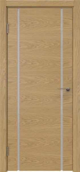 Межкомнатная дверь ZM017 (натуральный шпон дуба / триплекс белый)