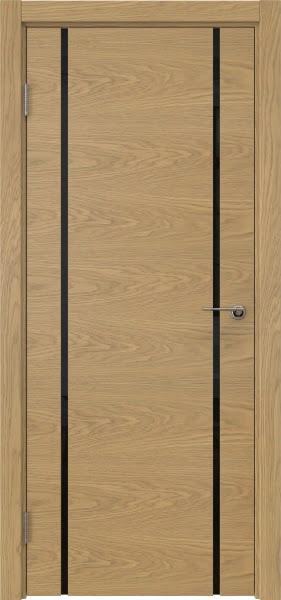 Межкомнатная дверь ZM017 (натуральный шпон дуба / триплекс черный)