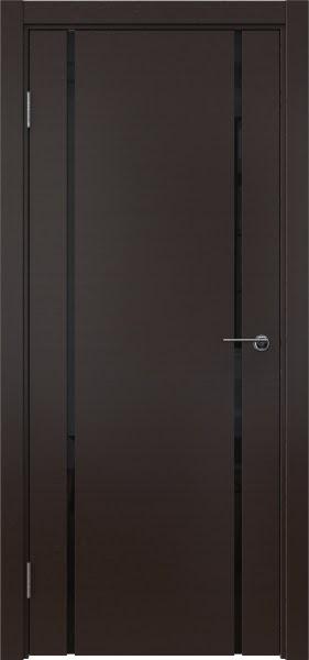 Межкомнатная дверь ZM017 (шпон венге / триплекс черный)