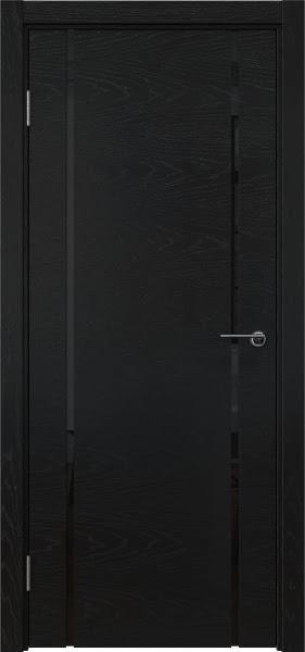 Межкомнатная дверь ZM017 (шпон ясень черный / триплекс черный)