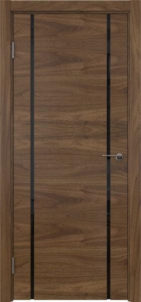 Межкомнатная дверь ZM017 (шпон американский орех / триплекс черный)