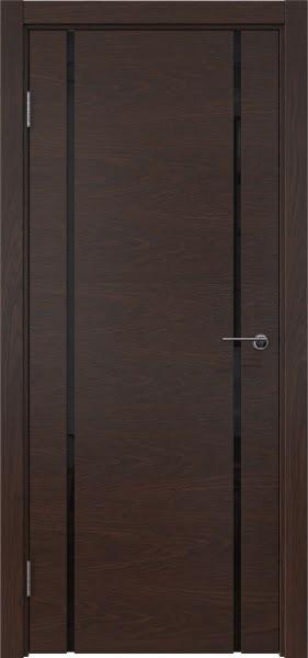 Межкомнатная дверь ZM017 (шпон дуб коньяк / триплекс черный)