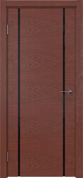 Межкомнатная дверь ZM017 (шпон красное дерево / триплекс черный)