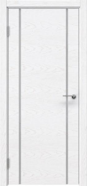 Межкомнатная дверь ZM017 (шпон ясень белый) / триплекс белый)