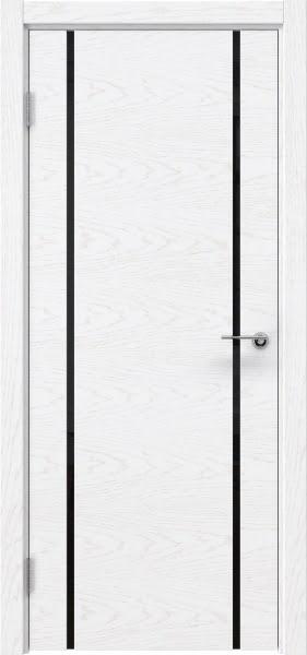 Межкомнатная дверь ZM017 (шпон ясень белый) / триплекс черный)
