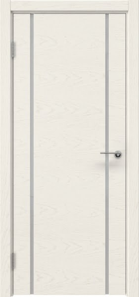 Межкомнатная дверь ZM017 (шпон ясень слоновая кость / триплекс белый)