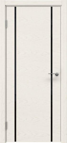 Межкомнатная дверь ZM017 (шпон ясень слоновая кость / триплекс черный)