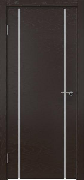 Межкомнатная дверь ZM017 (шпон ясень темный / триплекс белый)