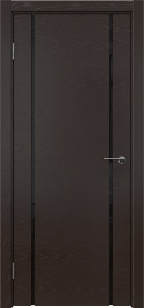Межкомнатная дверь ZM017 (шпон ясень темный / триплекс черный)