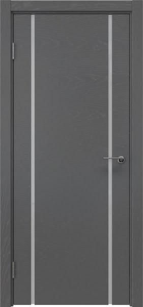 Межкомнатная дверь ZM017 (шпон ясень серый / триплекс белый)