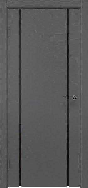 Межкомнатная дверь ZM017 (шпон ясень серый / триплекс черный)
