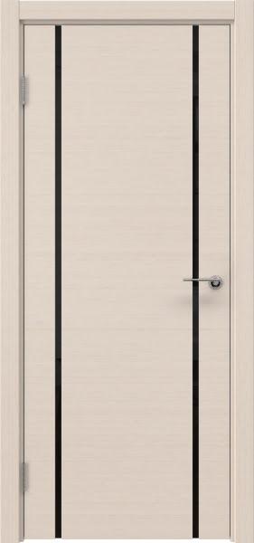 Межкомнатная дверь ZM017 (шпон беленый дуб / триплекс черный)