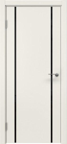 Межкомнатная дверь ZM017 (эмаль слоновая кость / триплекс черный)